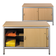 Console with Shelf & Locking Doors - Aspect Line